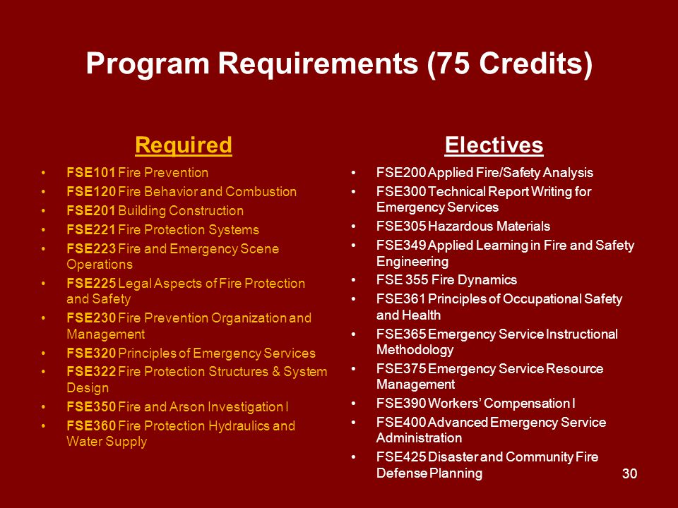 Program Requirements (75 Credits)