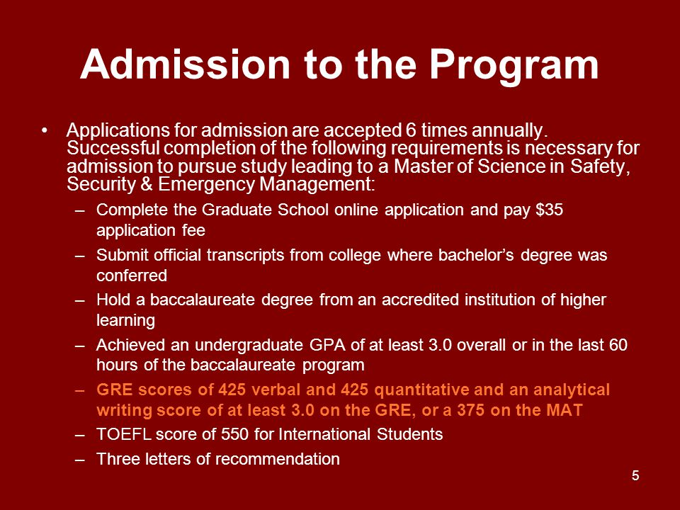 Admission to the Program