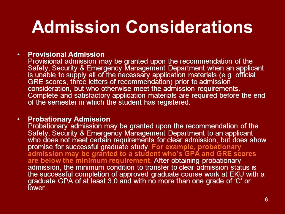 Admission Considerations