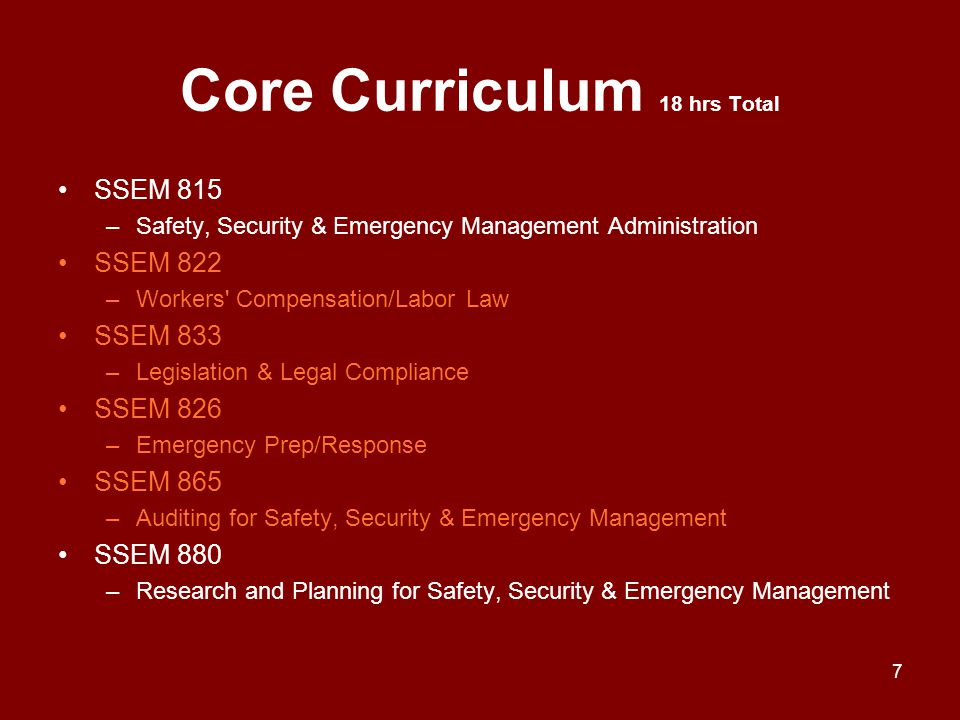 Core Curriculum 18 hrs Total