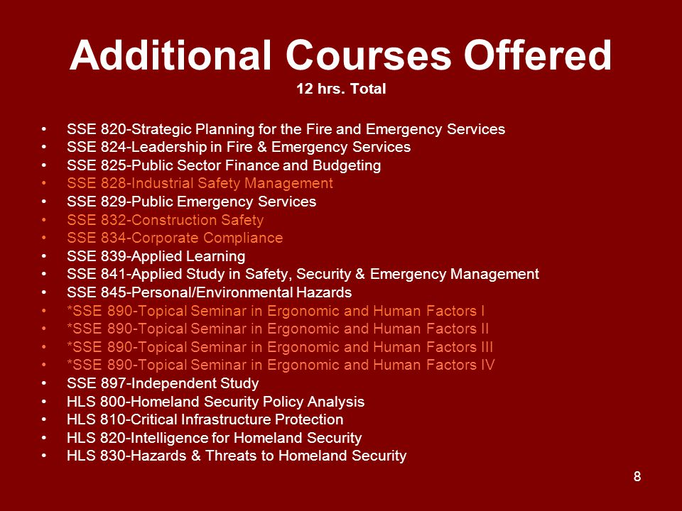 Additional Courses Offered 12 hrs. Total