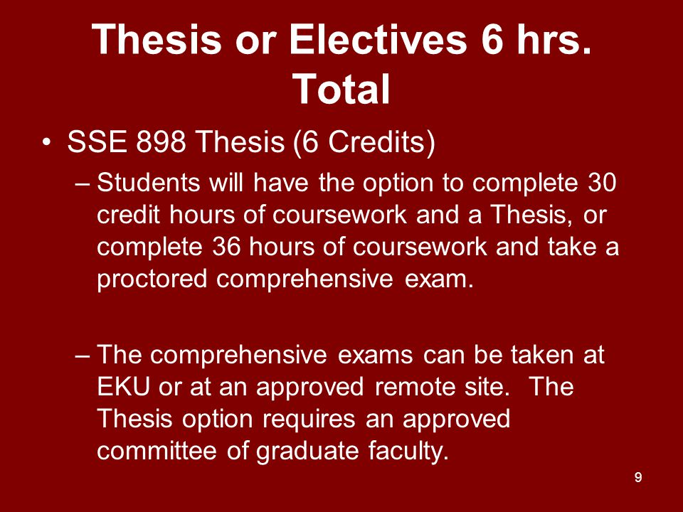Thesis or Electives 6 hrs. Total