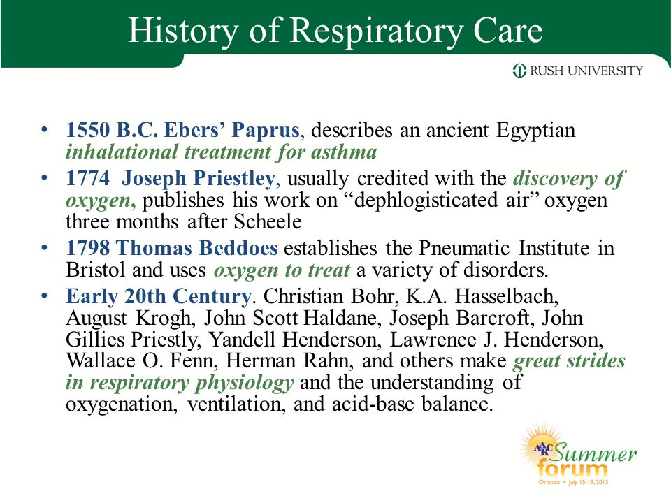a history of the respiratory therapy Our respiratory therapy department treats respiratory illnesses such as asthma, emphysema, chronic bronchitis, and pneumonia as well as many other respiratory.
