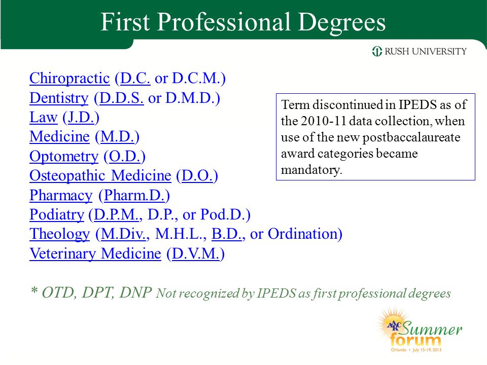 First Professional Degrees