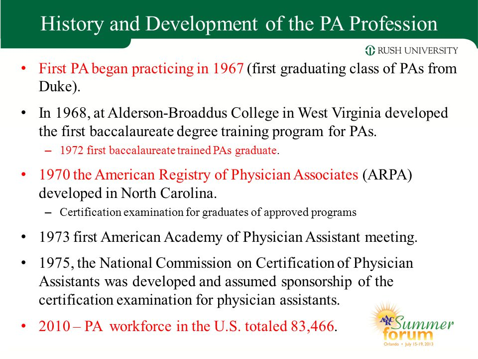 History and Development of the PA Profession