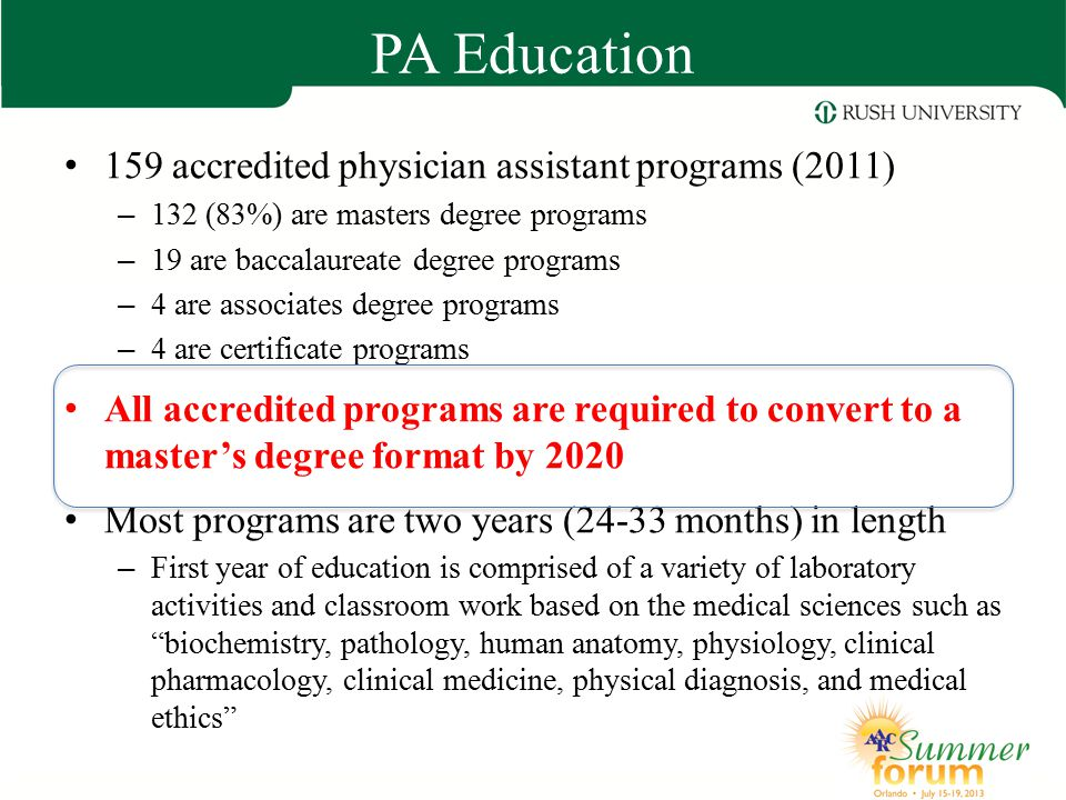 PA Education 159 accredited physician assistant programs (2011)