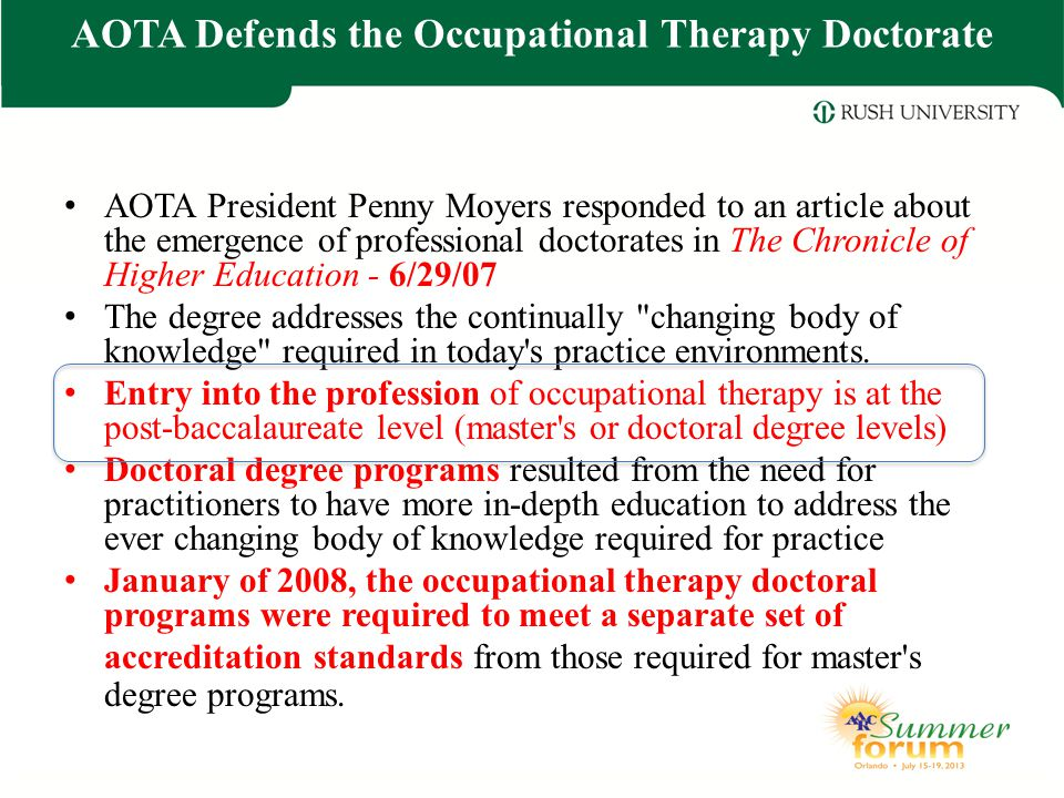 AOTA Defends the Occupational Therapy Doctorate