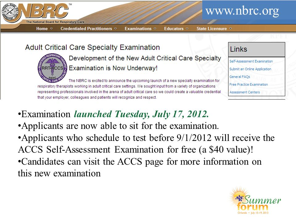 www.nbrc.org Examination launched Tuesday, July 17, 2012.