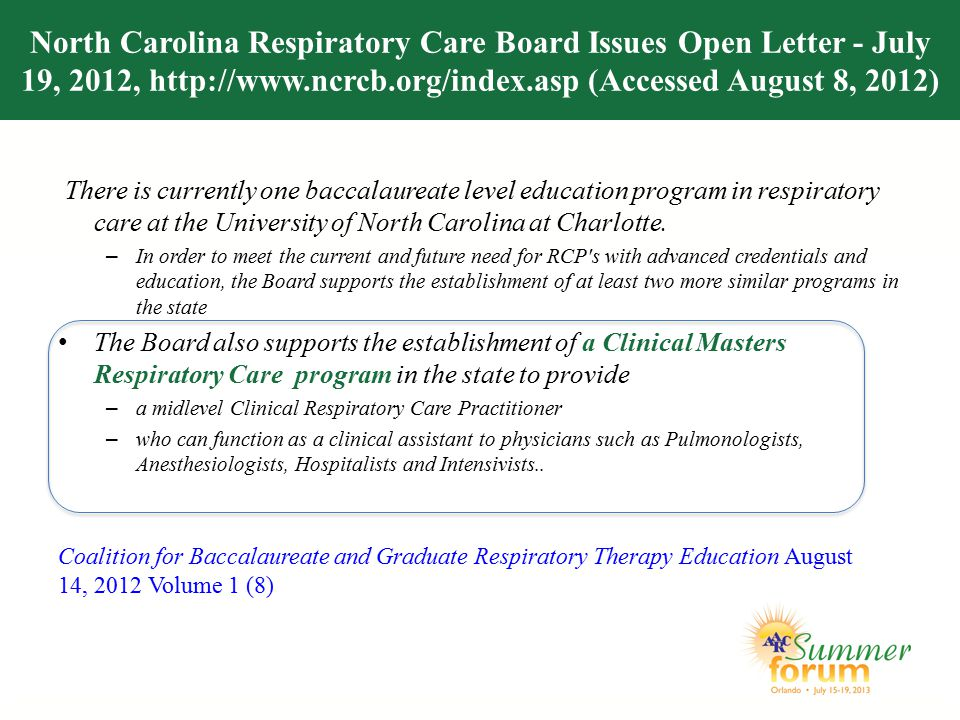 North Carolina Respiratory Care Board Issues Open Letter - July 19, 2012, http://www.ncrcb.org/index.asp (Accessed August 8, 2012)