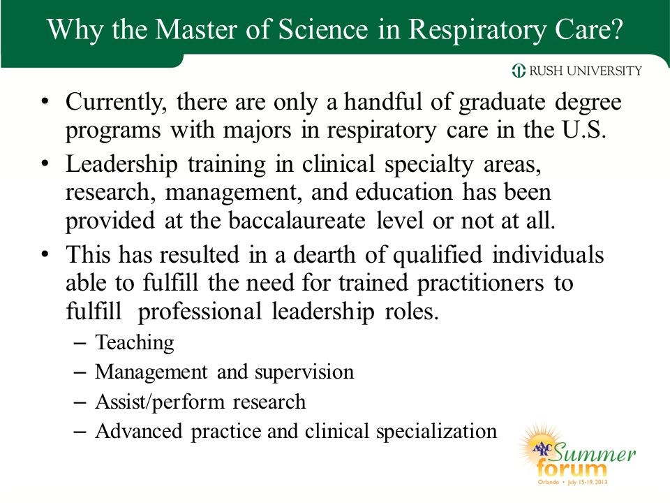 Why the Master of Science in Respiratory Care