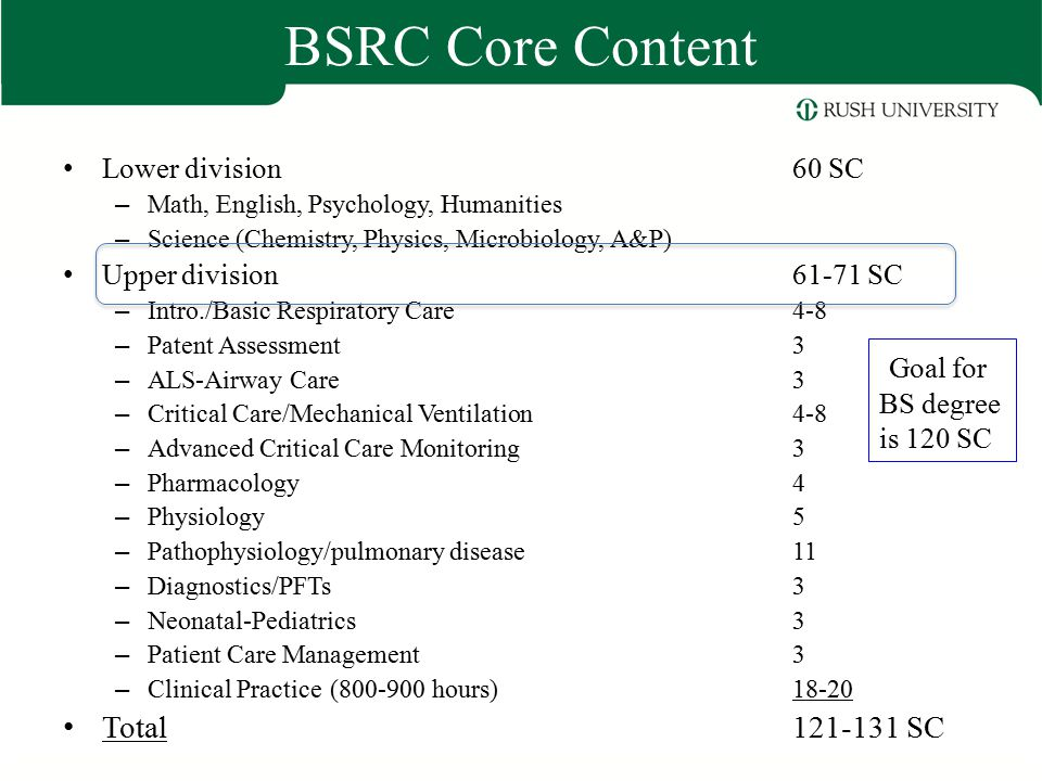 BSRC Core Content Goal for BS degree is 120 SC Total 121-131 SC