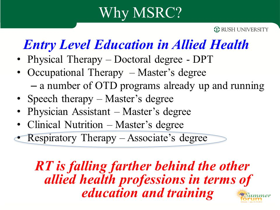 Entry Level Education in Allied Health