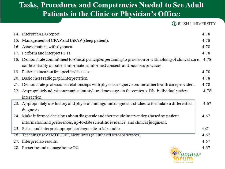 Tasks, Procedures and Competencies Needed to See Adult Patients in the Clinic or Physician's Office: