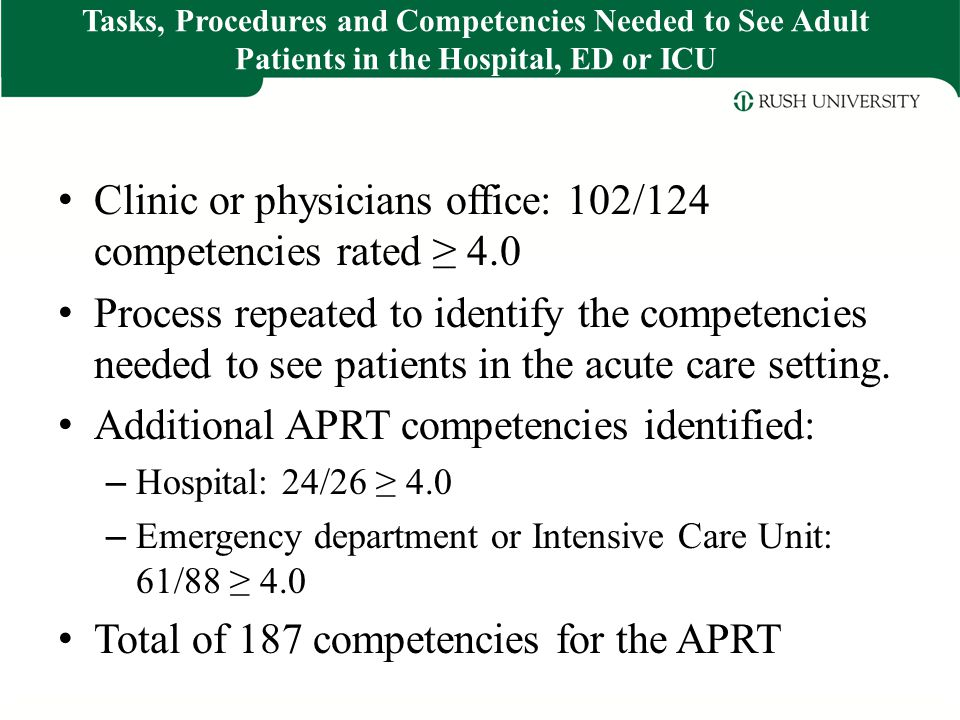 Clinic or physicians office: 102/124 competencies rated ≥ 4.0