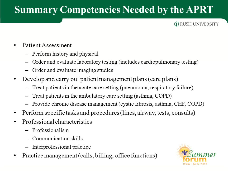 Summary Competencies Needed by the APRT