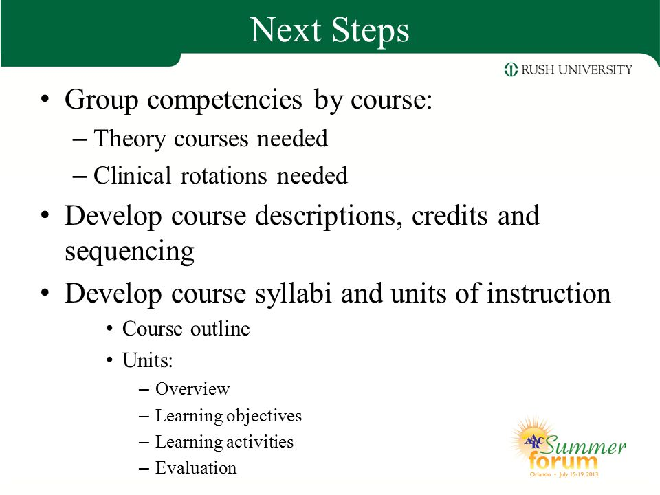 Next Steps Group competencies by course: