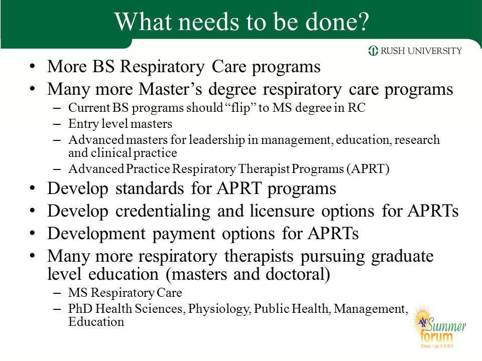What needs to be done More BS Respiratory Care programs