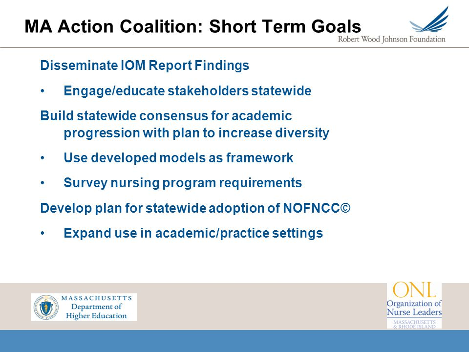 MA Action Coalition: Short Term Goals