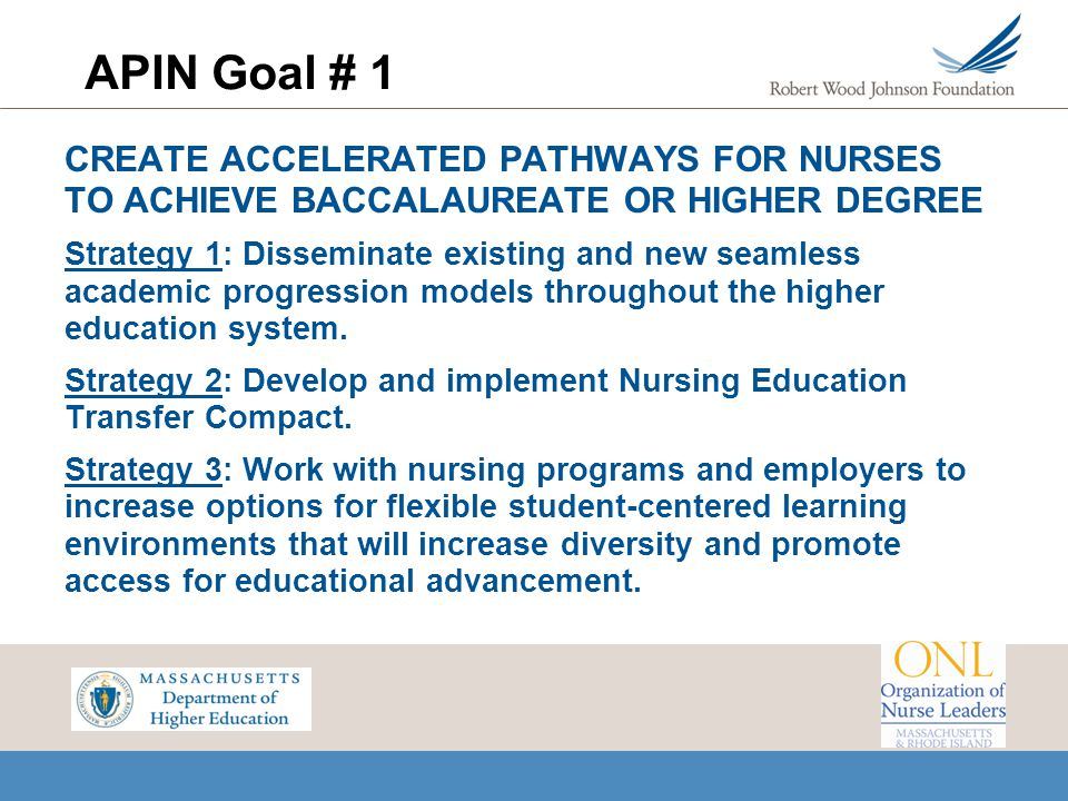 APIN Goal # 1 CREATE ACCELERATED PATHWAYS FOR NURSES TO ACHIEVE BACCALAUREATE OR HIGHER DEGREE.