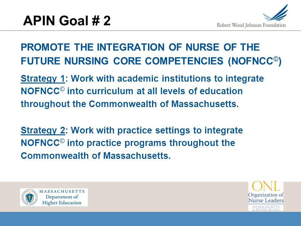 APIN Goal # 2 PROMOTE THE INTEGRATION OF NURSE OF THE FUTURE NURSING CORE COMPETENCIES (NOFNCC©)