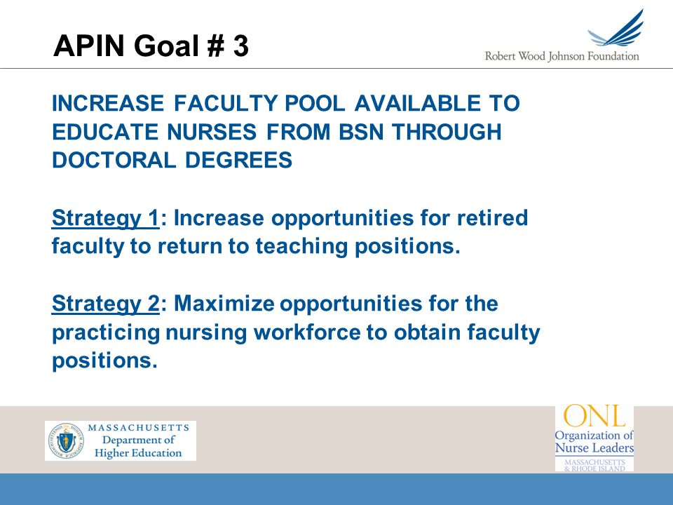 APIN Goal # 3 INCREASE FACULTY POOL AVAILABLE TO EDUCATE NURSES FROM BSN THROUGH DOCTORAL DEGREES.