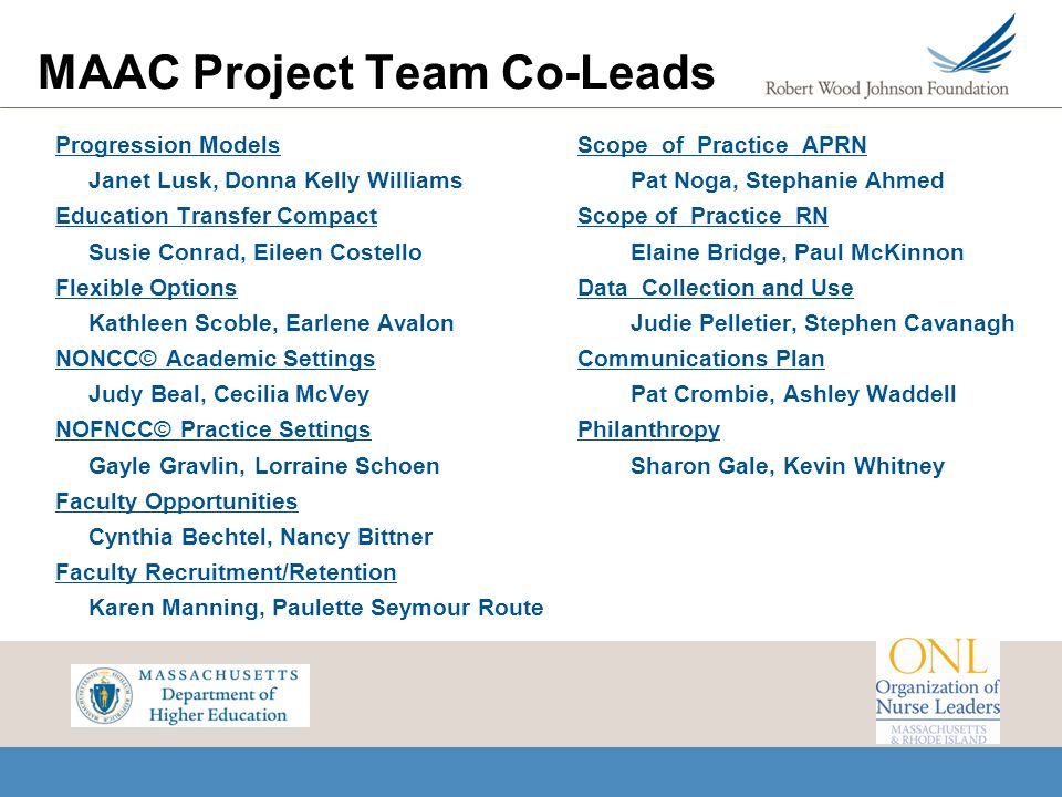 MAAC Project Team Co-Leads