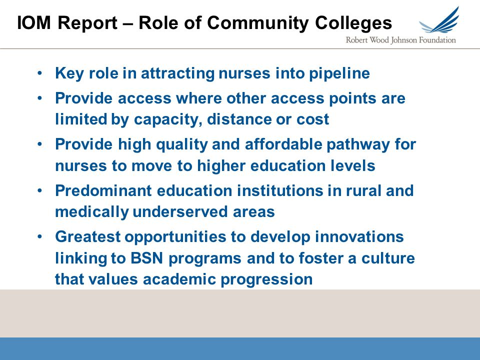 IOM Report – Role of Community Colleges