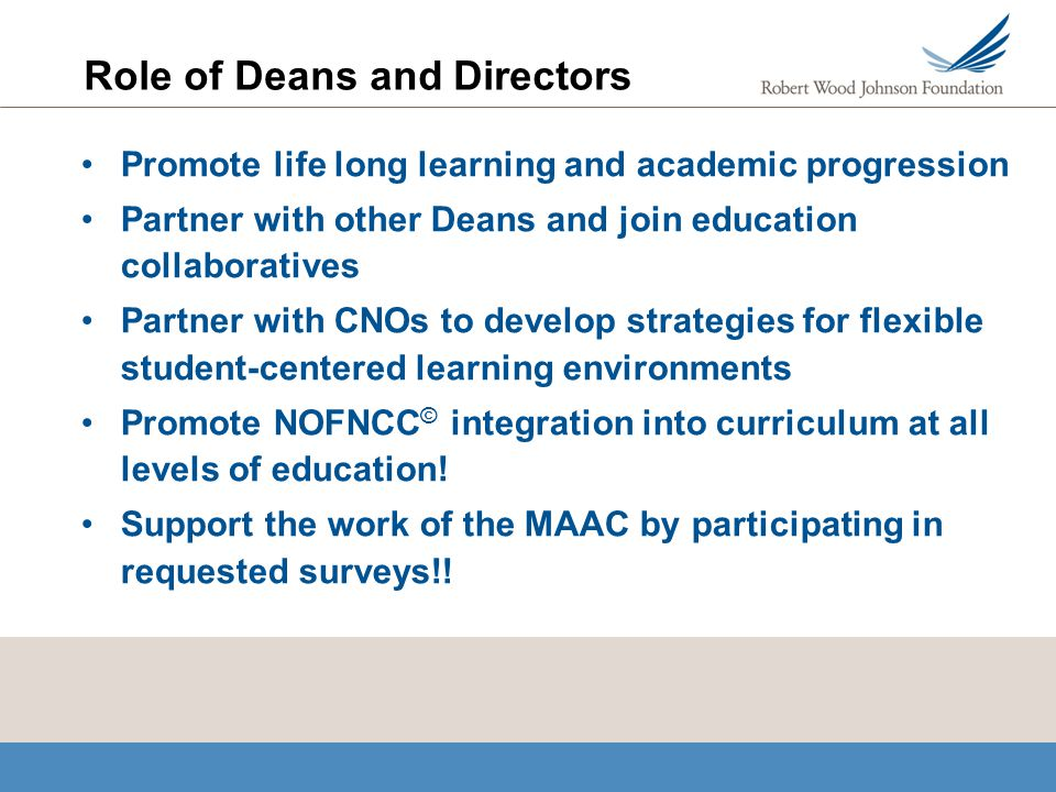 Role of Deans and Directors