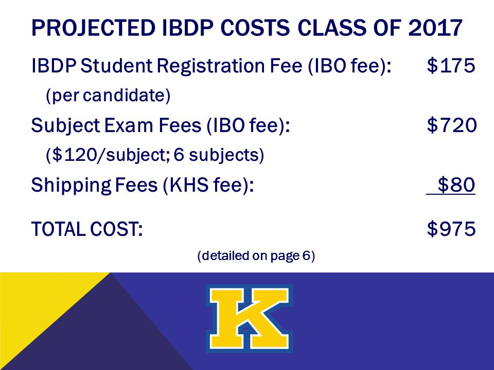 PROJECTED IBDP COSTS Class of 2017