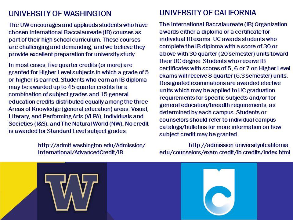 UNIVERSITY OF CALIFORNIA UNIVERSITY OF WASHINGTON