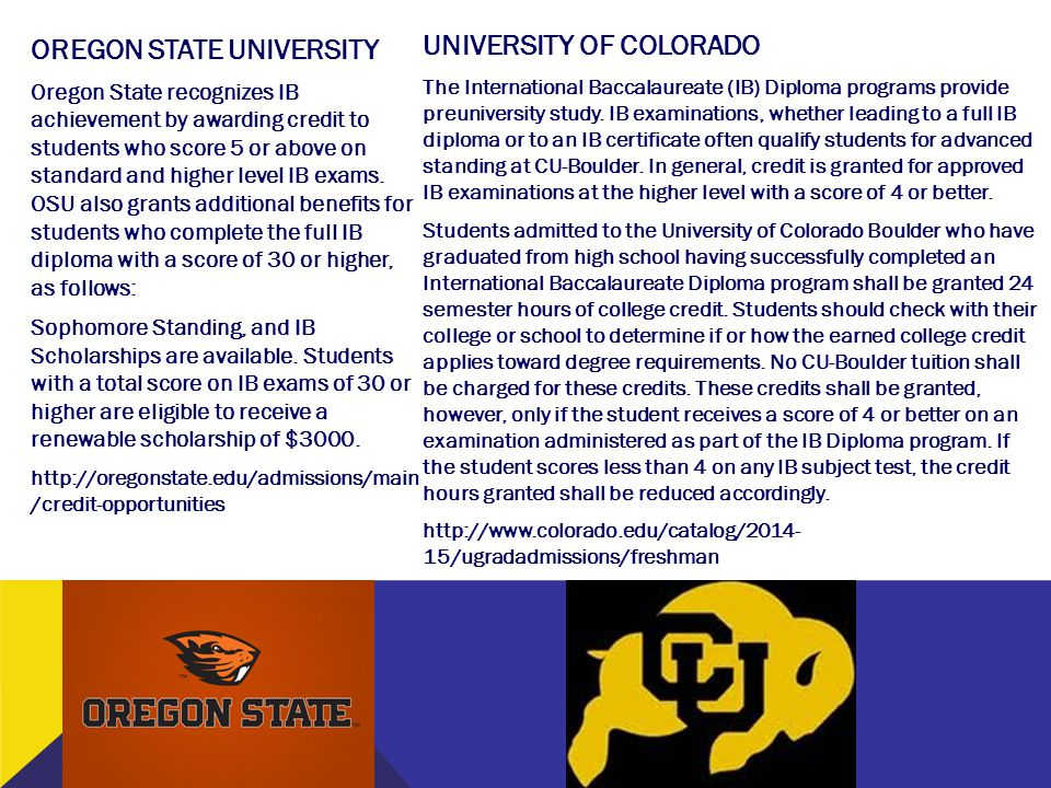 UNIVERSITY OF COLORADO OREGON STATE UNIVERSITY