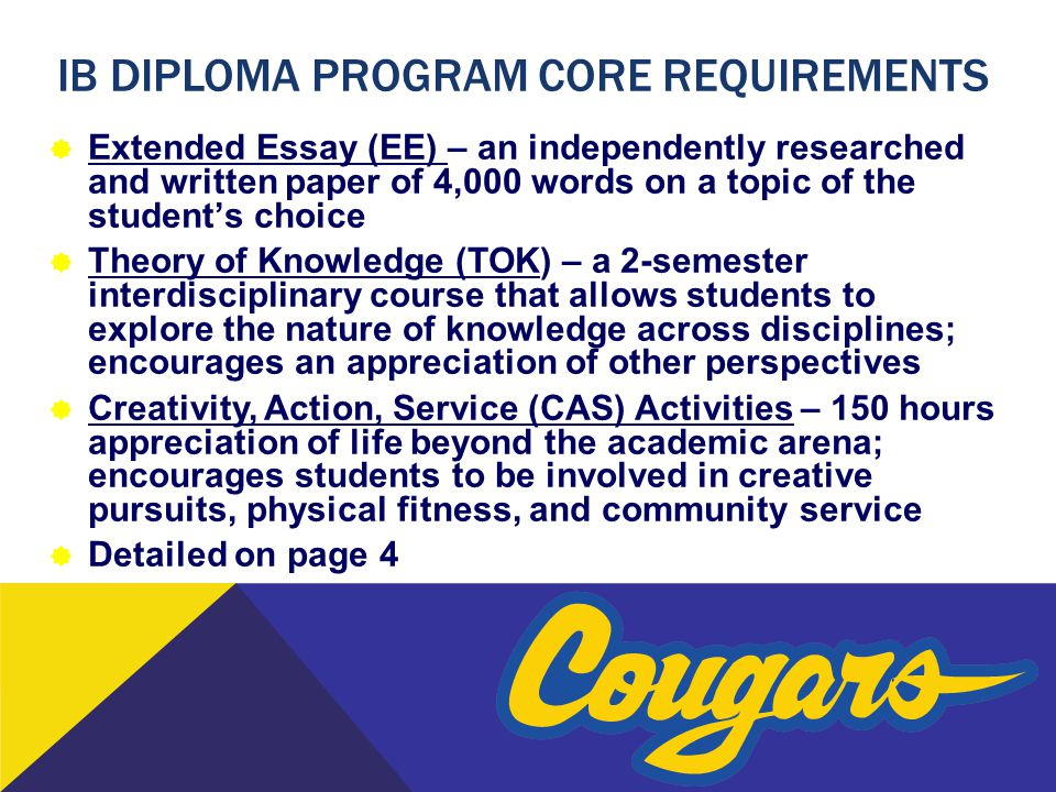 IB DIPLOMA PROGRAM Core requirements