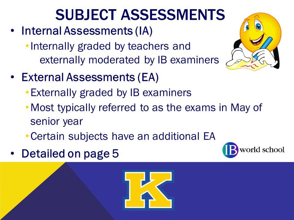 SUBJECT ASSESSMENTS Internal Assessments (IA)
