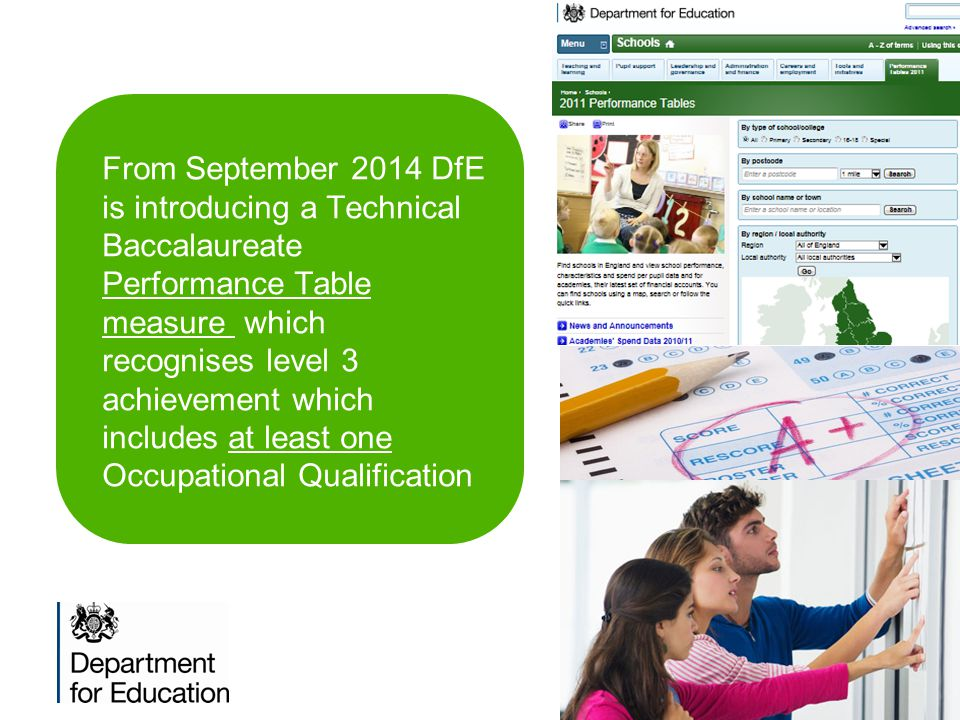 From September 2014 DfE is introducing a Technical Baccalaureate Performance Table measure which recognises level 3 achievement which includes at least one Occupational Qualification