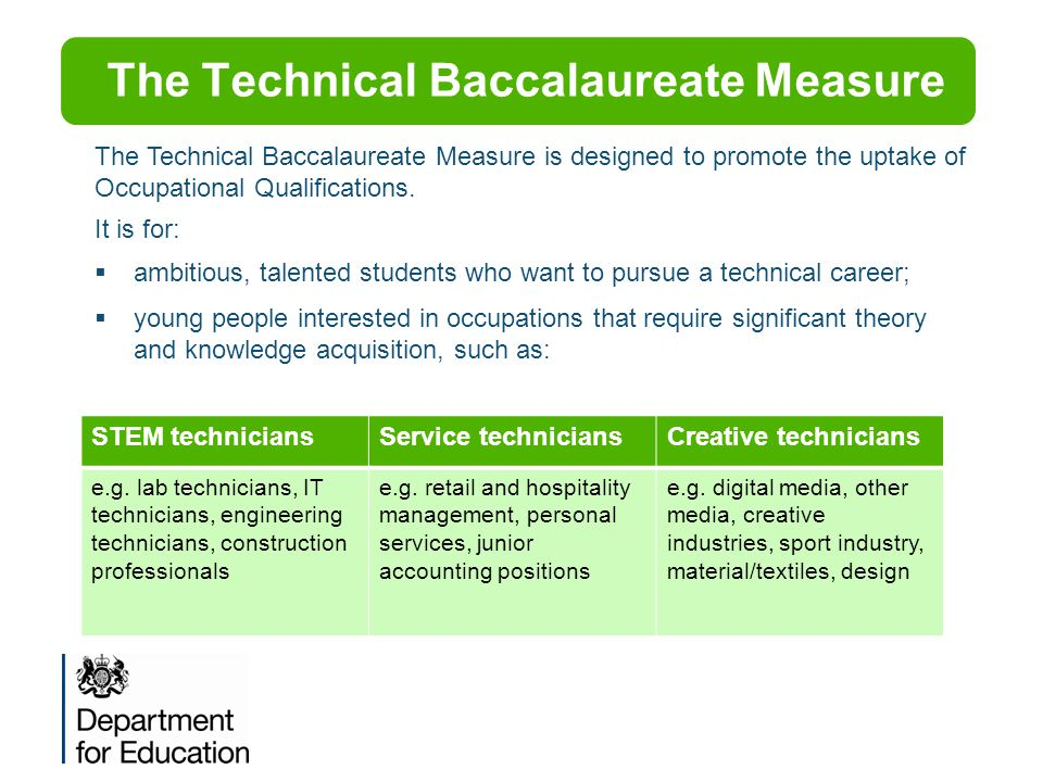 The Technical Baccalaureate Measure