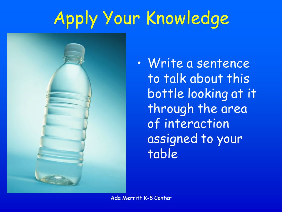 Apply Your Knowledge Write a sentence to talk about this bottle looking at it through the area of interaction assigned to your table.