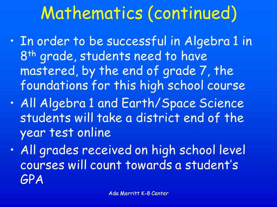 Mathematics (continued)