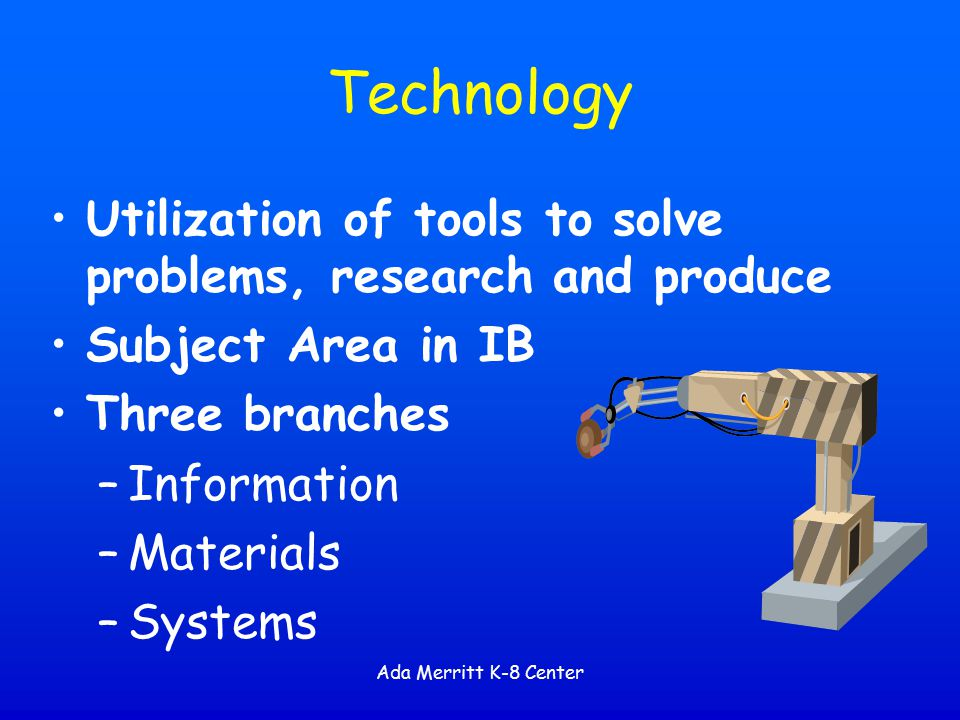 Technology Utilization of tools to solve problems, research and produce. Subject Area in IB. Three branches.