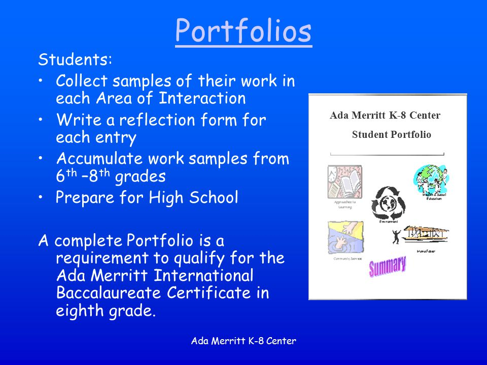 Portfolios Students: Collect samples of their work in each Area of Interaction. Write a reflection form for each entry.