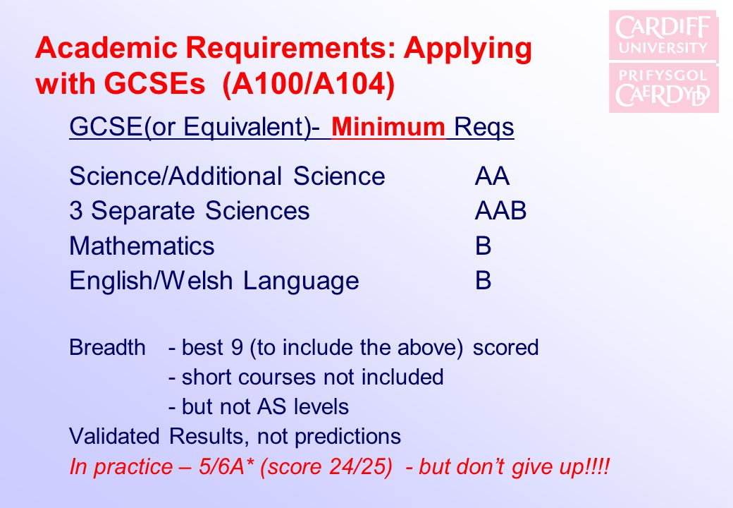 Academic Requirements: Applying with GCSEs (A100/A104)