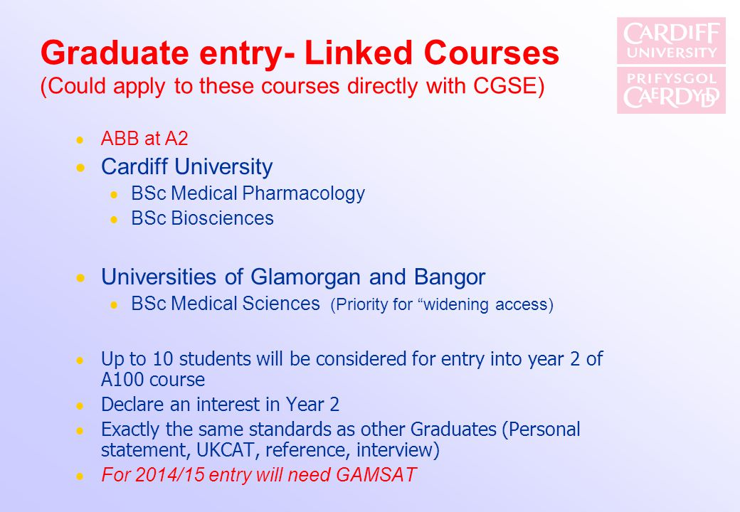 Graduate entry- Linked Courses (Could apply to these courses directly with CGSE)