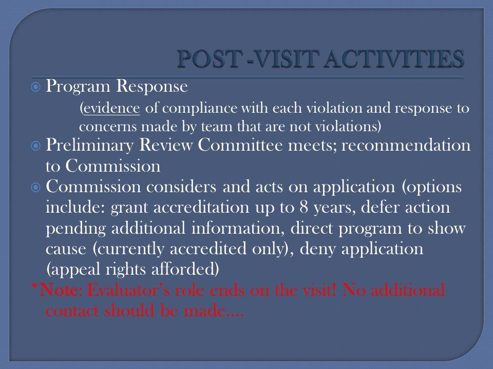 POST -VISIT ACTIVITIES