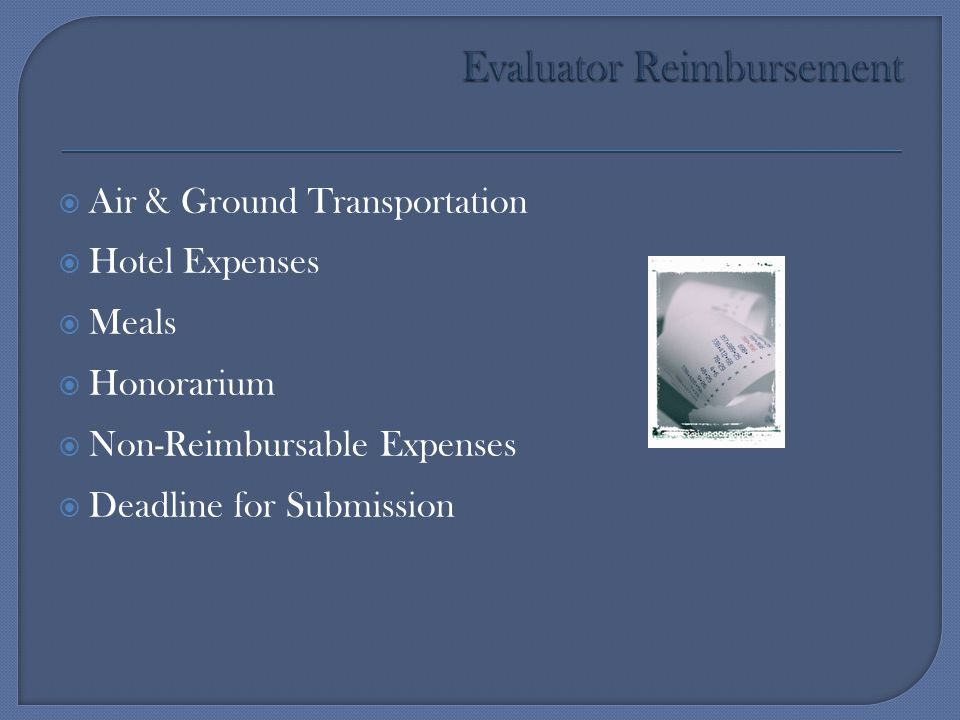 Evaluator Reimbursement