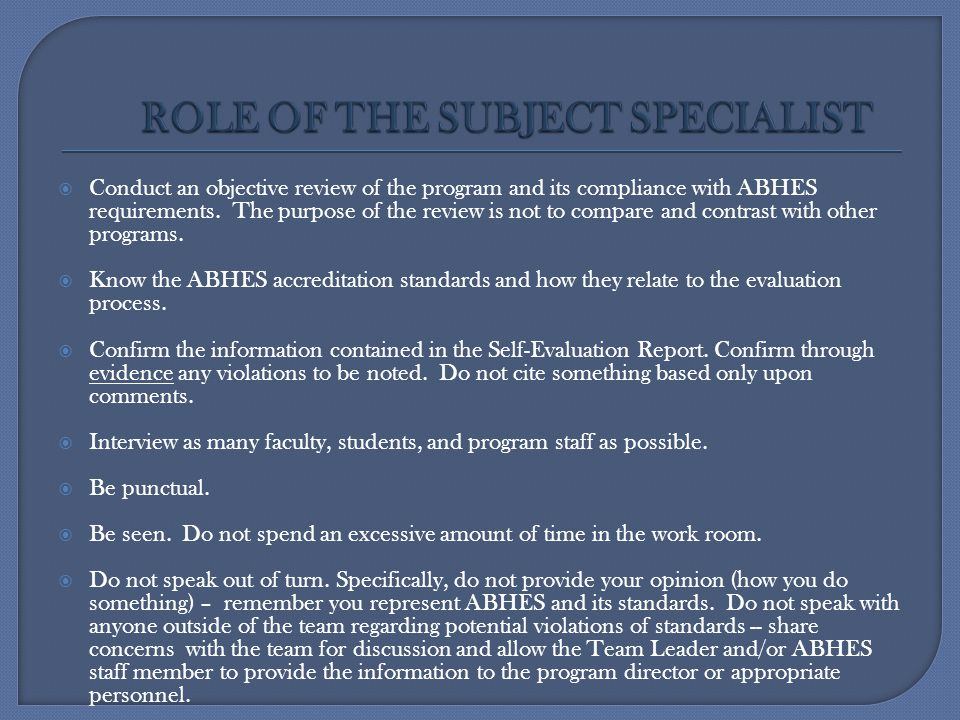 ROLE OF THE SUBJECT SPECIALIST
