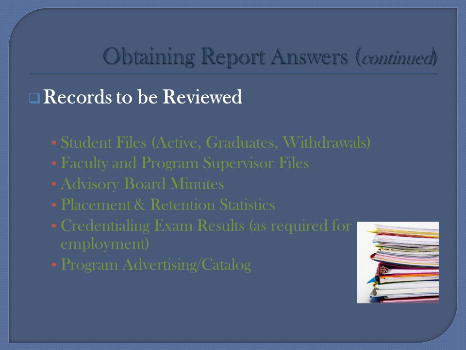 Obtaining Report Answers (continued)