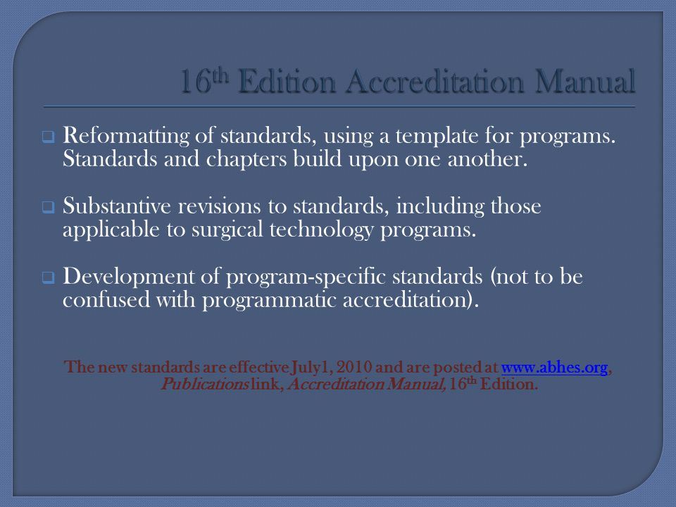 16th Edition Accreditation Manual