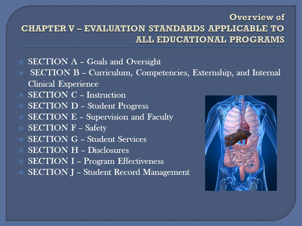 Overview of CHAPTER V – EVALUATION STANDARDS APPLICABLE TO ALL EDUCATIONAL PROGRAMS