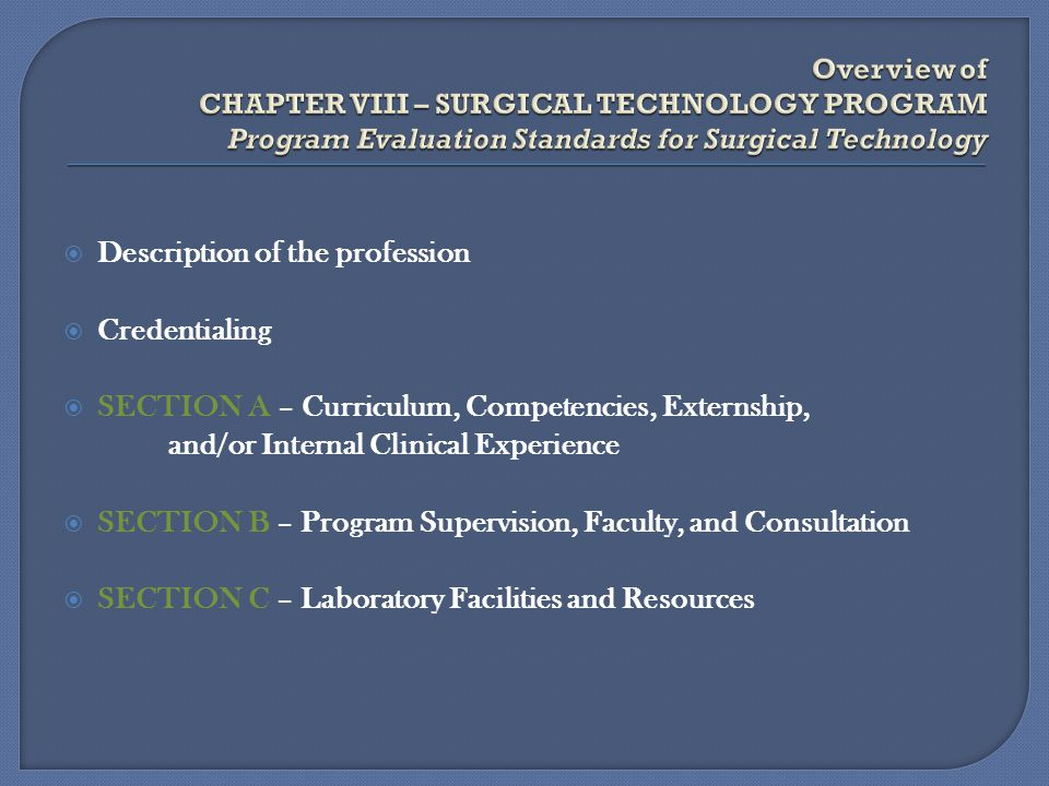 Description of the profession Credentialing