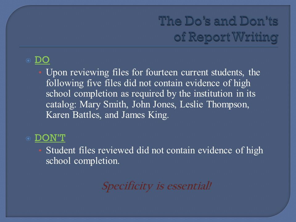 The Do's and Don'ts of Report Writing