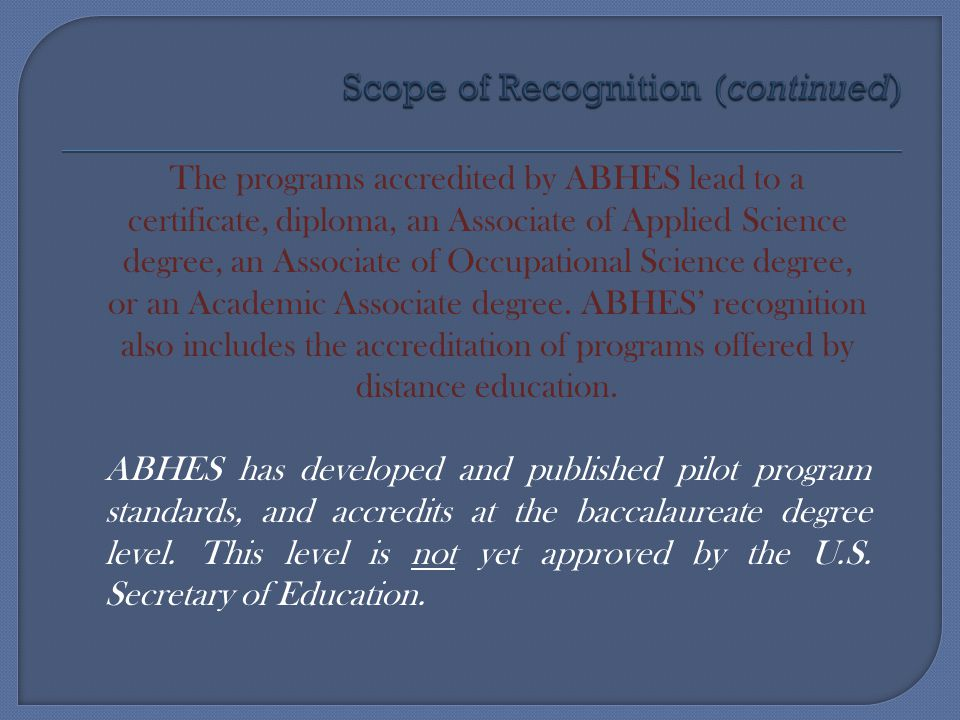Scope of Recognition (continued)